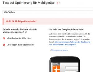 Mobile-Friendliness Test: durchgefallen