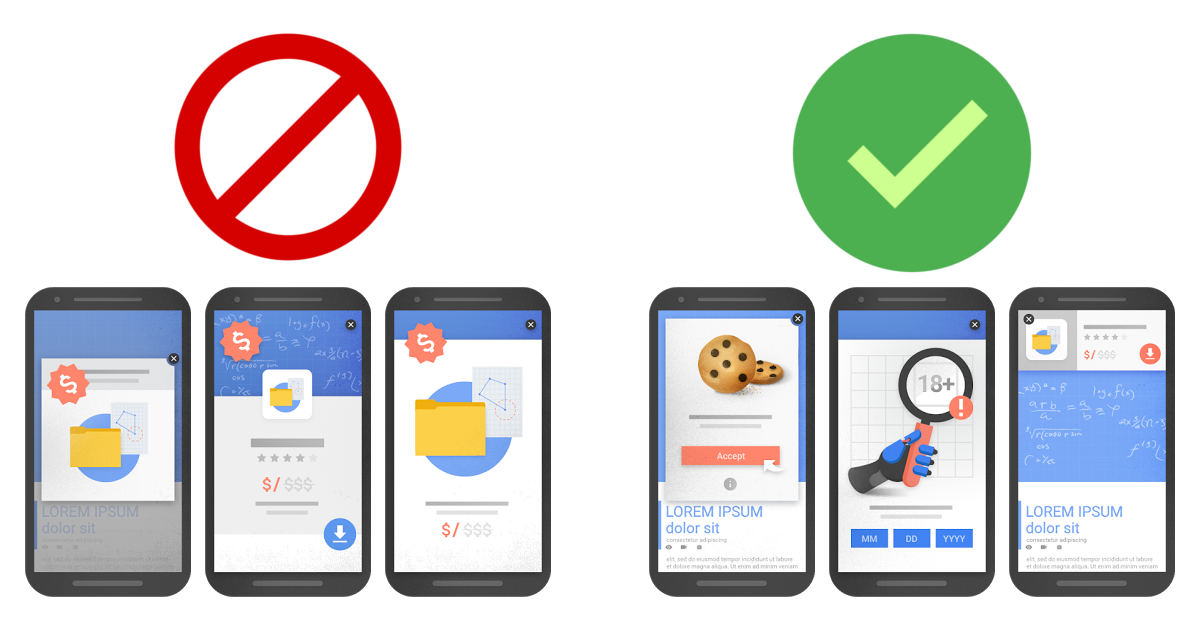 Google sagt Pop-ups und Overlays den Kampf an