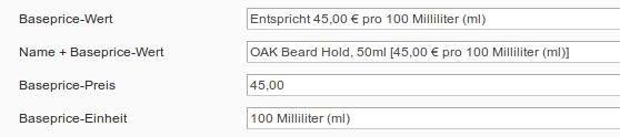 Attribute für Grundpreise in M2E Pro