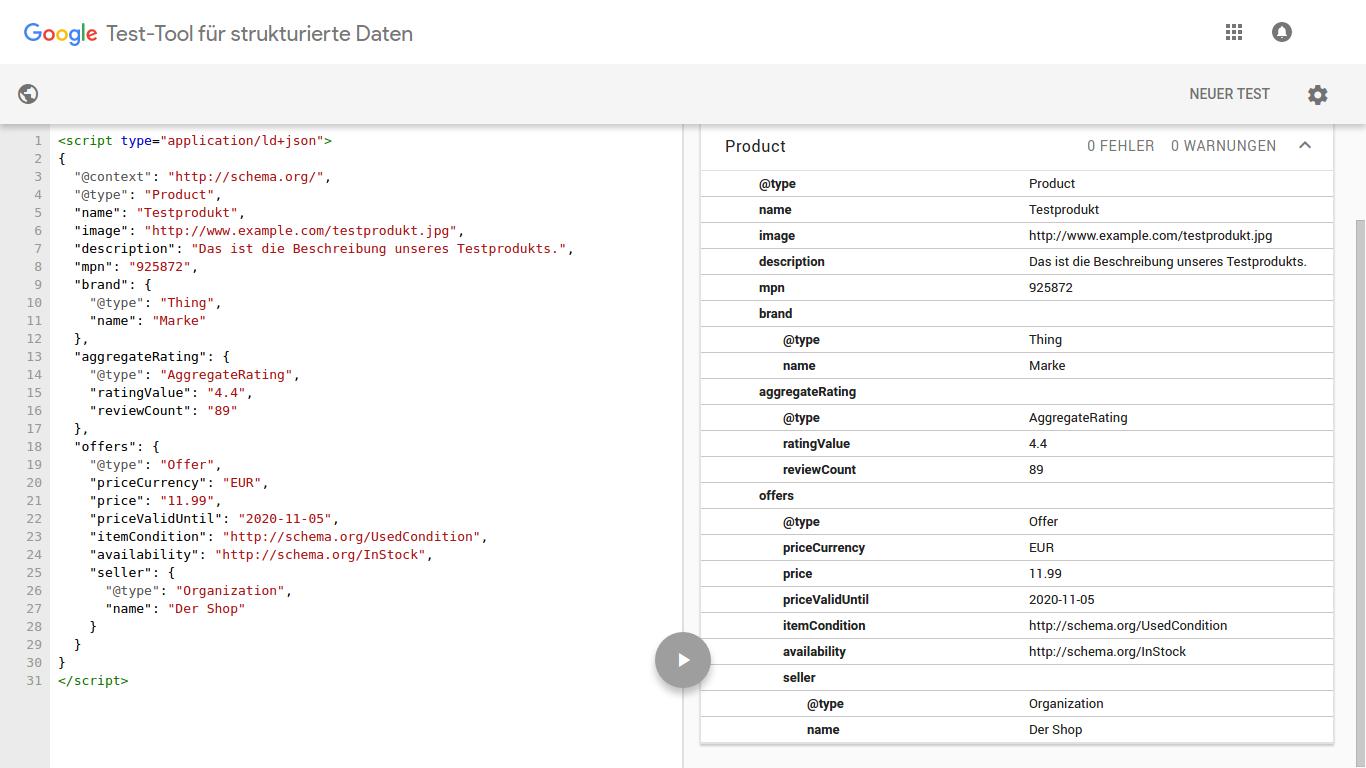 Googles Test-Tool für strukturierte Daten