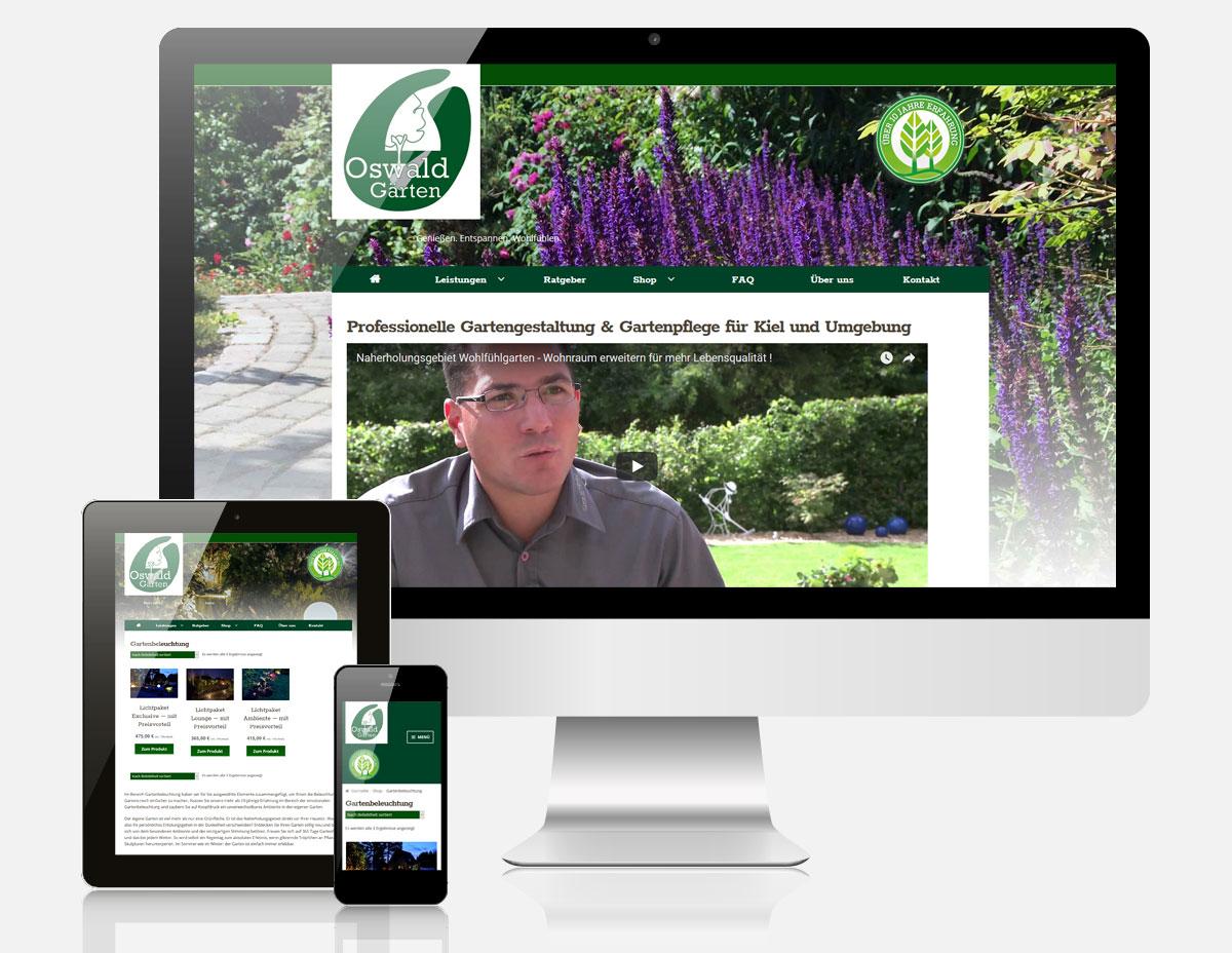 Website mit Onlineshop Oswald Gärten