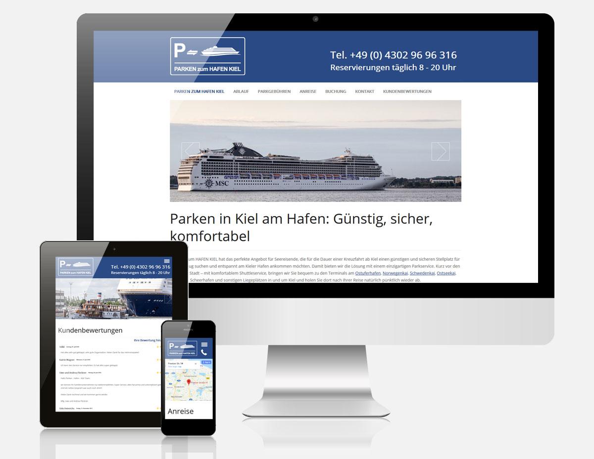 Website Parken zum Hafen Kiel