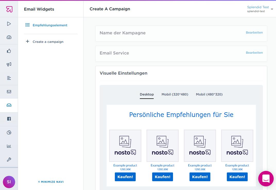 E-Mail Widget für personalisierte Produktempfehlungen in Nosto erstellen