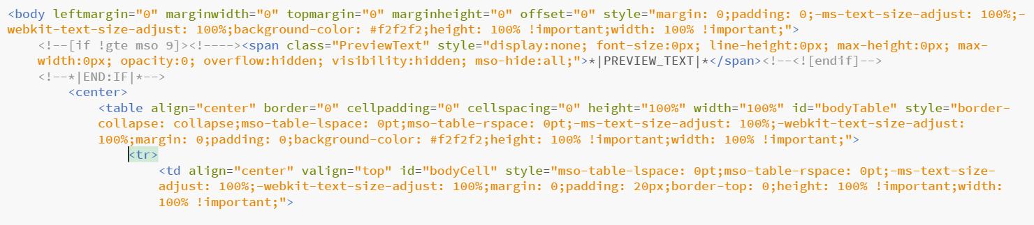 Tabellenlayout mit Inline-Styling eines Newsletter-Templates