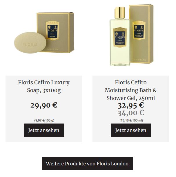 Kosmetikprodukte in einem Newsletter