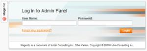 Magento Admin Panel Login 2010