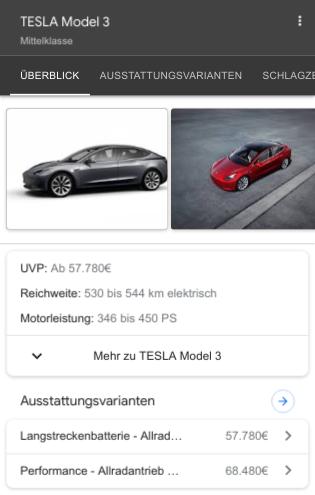 Produktinformationen im Google Knowledge Panel