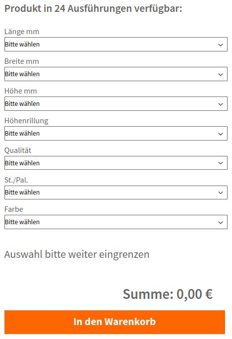 Schrittweise Konfiguration von gruppierten Produkten über Filter (responsiv)