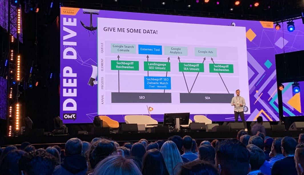 Deep Dive Vortrag von Daniel Kaliner: OneSearch auf dem OMR Festival 2019