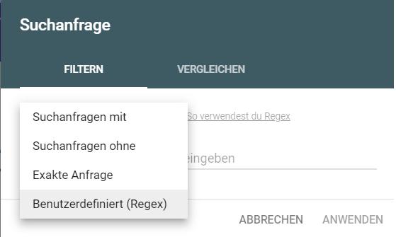 Suchanfragen filtern mit Regex in der Google Search Console