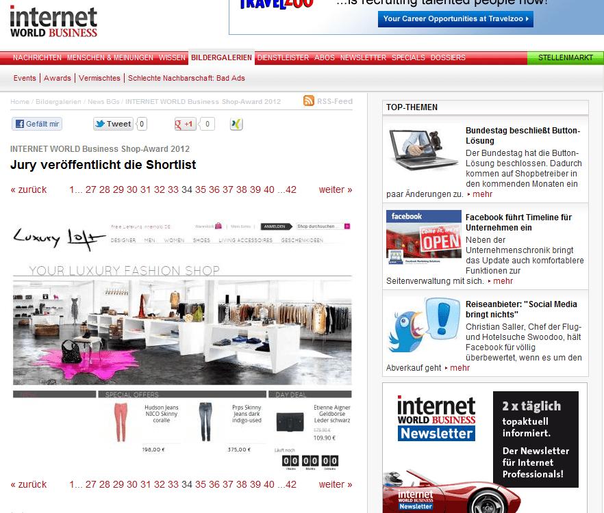 Luxuryloft in Internet World Business