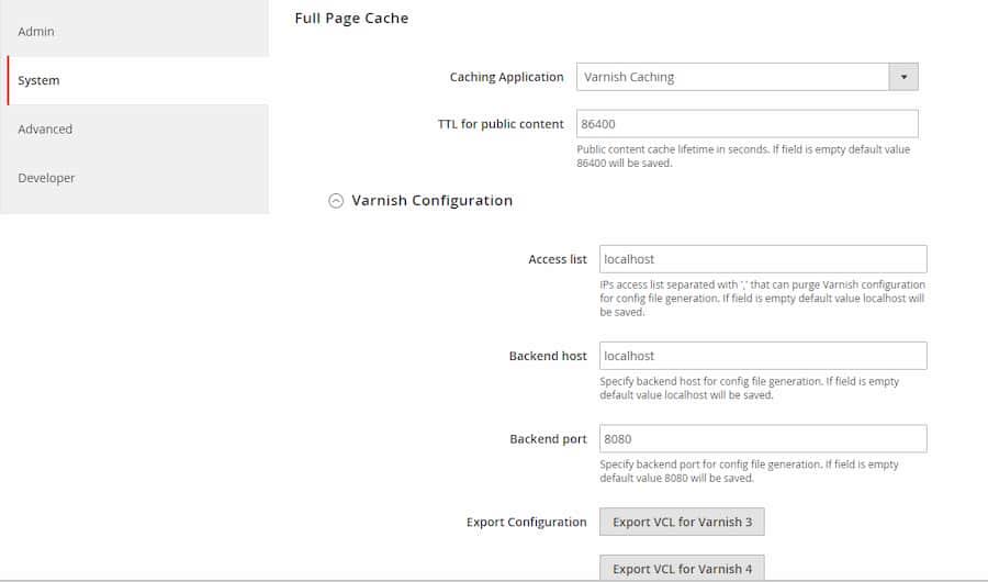 Varnish Konfiguration in Magento 2