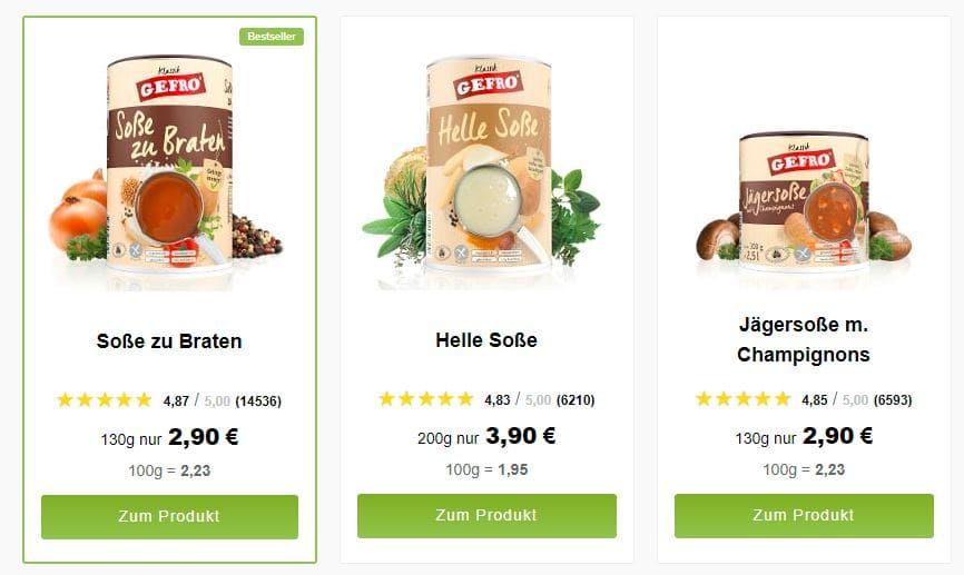 Drei Gefro Sossen mit verschiedenen Produktbewertungen auf der Kategorieseite.
