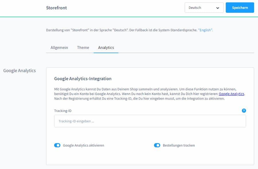 Grafik Google Analytics Einstellungen für Shopware 6.2