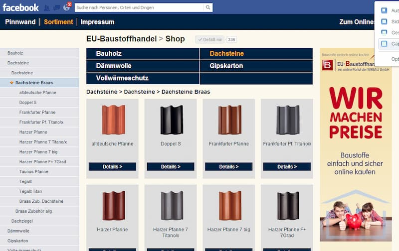 Maßgeschneiderte Social Media Lösung: Facebook App für eu-baustoffhandel.de (Wirbau GmbH)