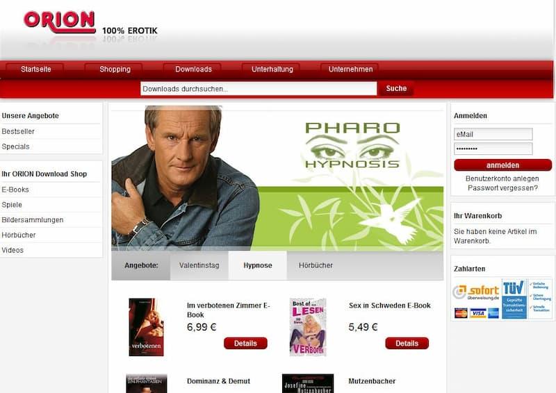 Onlineshop für Downloadprodukte: ORION