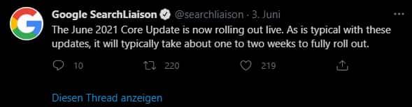 Google Core Update Twitter