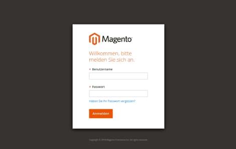 Magento 2 Login / Admin-Bereich