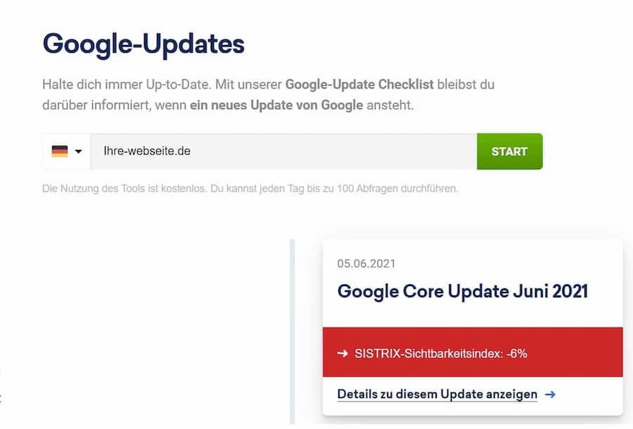 Google Updates Sistrix Checker