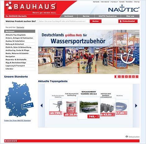 Magento Enterprise Onlineshop von BAUHAUS NAUTIC