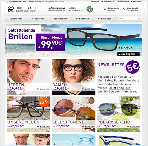 Magento Enterprise Onlineshop von Brille24