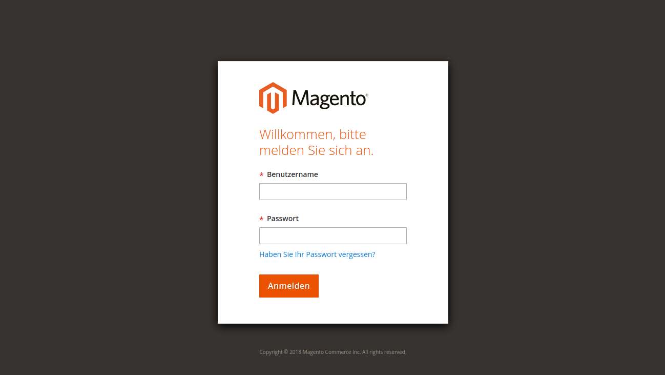 Screenshot Magento 2 Admin Panel Login