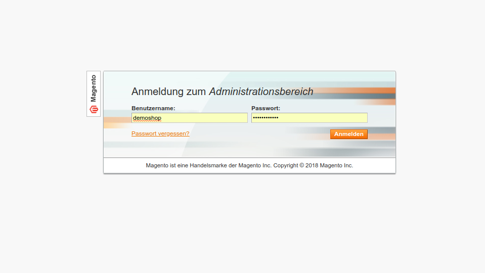 Screenshot Magento 1.9 Admin Panel Login