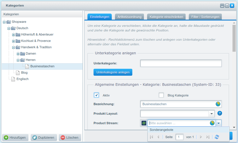 Shopware Handbuch – 3. Kapitel: Product-Streams, Bewertungen, Cross-Selling
